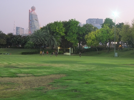 Zaabeel Park offers green grass for ballgames and good lighting