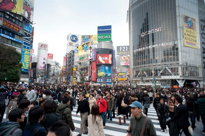 people on a busy crossroads in shibuya, tokyo, japan - not model released