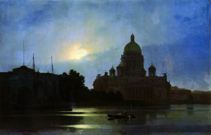 Arkhip Kuindzhi. Kind of the Isaac Cathedral at Moonlight Night. 1869. Oil on canvas. Smolensk State Museum-reserve, Smolensk, Russia.